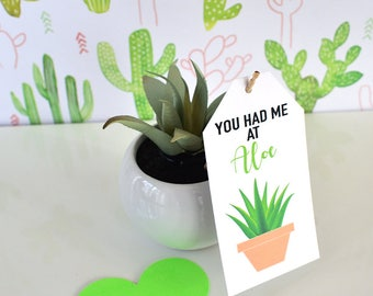 Valentine's Day Aloe Vera Party Favor Tags Instant Download