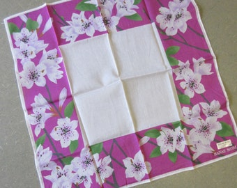 Vintage Hanae Mori Handkerchief, Designer Pocket Square, Made in Japan, Floral Print, Purple and White Flowers, Cotton Square Handkerchief,