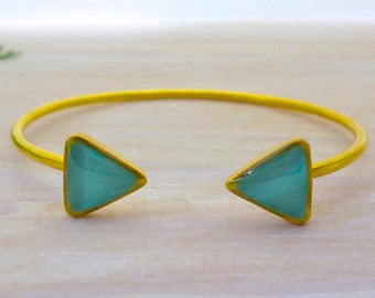 Turquoise Triangle Bracelet, Triangle Bangle, Open Cuff Bracelet, Gold Bracelet, Geometric Jewelry, Statement Bracelet, Greek Bracelet