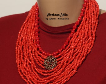 Coral Seed beads Double necklace Traditional Ukrainian Handmade necklace Beaded With 15+1 Strands with pendants  Red Coral necklace gift her