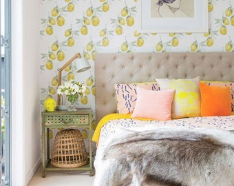 Lemon Wallpaper, Removable Wallpaper, Lemon Wallpaper, Lemon Wall Sticker, Lemon Wall Decal, Lemon Self-Adhesive Wallpaper, 112