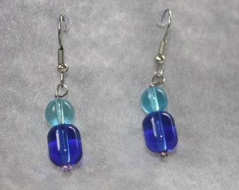 Aquamarine and Cobalt Glass Earrings