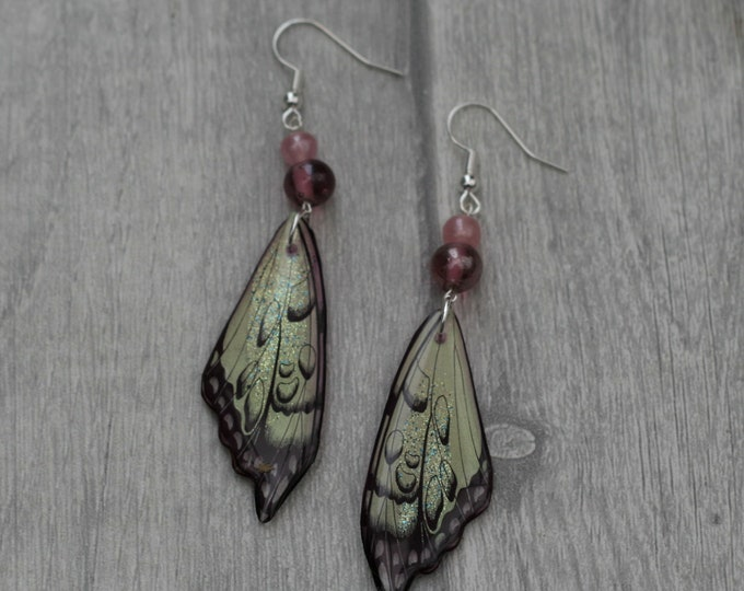 Pink Wing Earrings, Wing Illustration, Dangle Earrings, Sparkle Jewelry