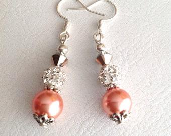 Apricot Pearl, Swarovski Crystal and Rhinestone Earrings - Elegant Dangle Earrings - Orrsome Bling - Australian Shop - Birthday Gift
