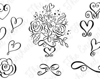 Hearts SVG, Valentines Day cutting File. Bows, Bridal Cutting File, Bouquet Plotter Files, Silhoutte, Cricut, Wedding SVG. digital download,