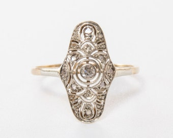 Art Deco diamond and 14k gold ring / Engagement Ring / Diamond Ring /Art Deco Ring / diamond Ring / Engagement Ring / Deco Wedding Ring/1301