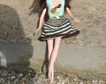 Barbie doll dress, knitted by hands