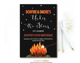 s mores birthday party invitation s mores and campfire