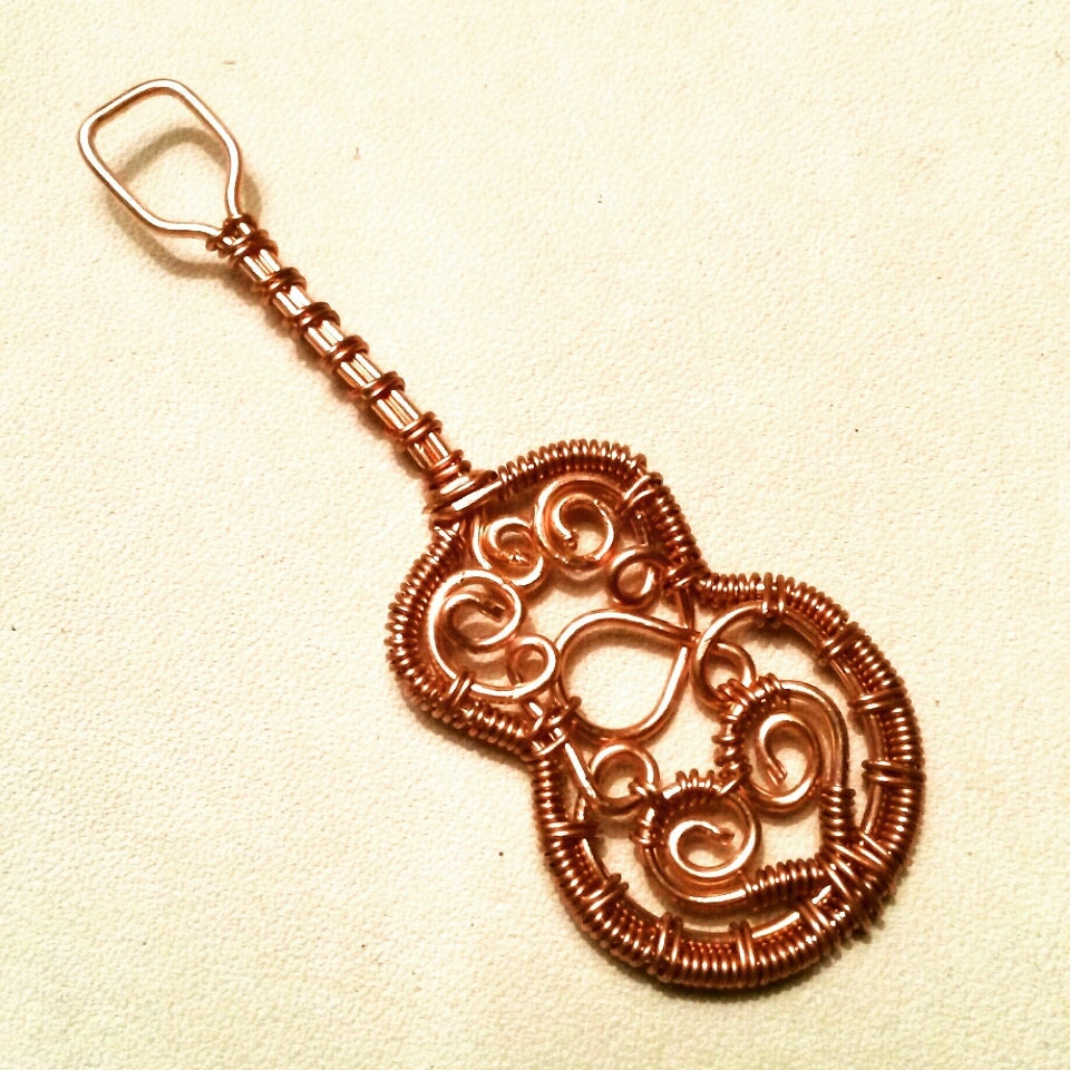 Made to Order Copper Guitar Pendant wire wrapped jewelry