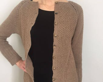 Merino wool cardigan and hand-worked cashmere