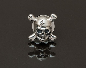 Pirate Lapel Pin, Sterling Silver,  handcrafted