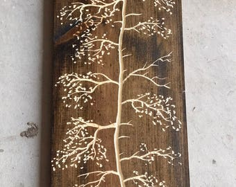 Large rustic carved pine tree 36 inches tall X 10 inches wide dark walnut stain