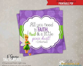 Tinkerbell Quote, Girl's Birthday Party Favor Tag, Printable, Instant Download #B133