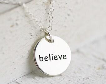 Believe Necklace - Sterling Silver Round Believe Necklace - Believe Pendant - Believe Jewelry - Believe Disc - Believe Charm - Word Jewelry