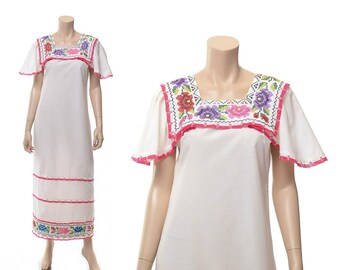 Vintage 70s Floral Embroidered Mexican Dress 1970s Cross Stitch Floral Boho Lace Festival Hippie Peasant Folk Summer Maxi Dress / size M