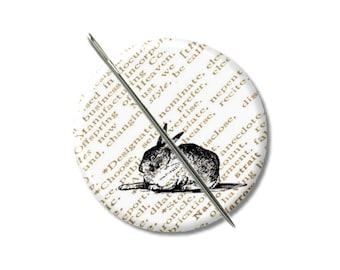 Rabbit needle minder magnet cross stitching sewing tool sewing notion wife gift under 10 stocking stuffer Woodland animals