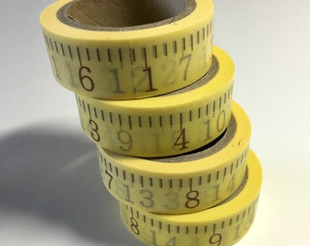 """Washi Tape (2 rolls) . Yellow Ruler Themed Paper Tape Adhesive Tape Measuring Tape Inches 5/8"""" x 26' Craft Supplies Scrapbooking School"""