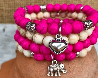 Boho stacker set: 4 bracelets in pink and white turquoise. Set of four stacking stretch bracelets with puff heart & lucky elephant charms.