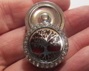 aromatherapy pressure, 23mm diameter, rhinestone, tree of life, for jewelry, for accessory