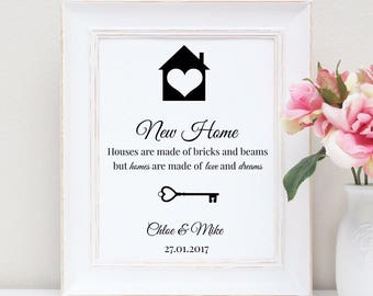 New Home - First Home rose gold foil print - housewarming gift