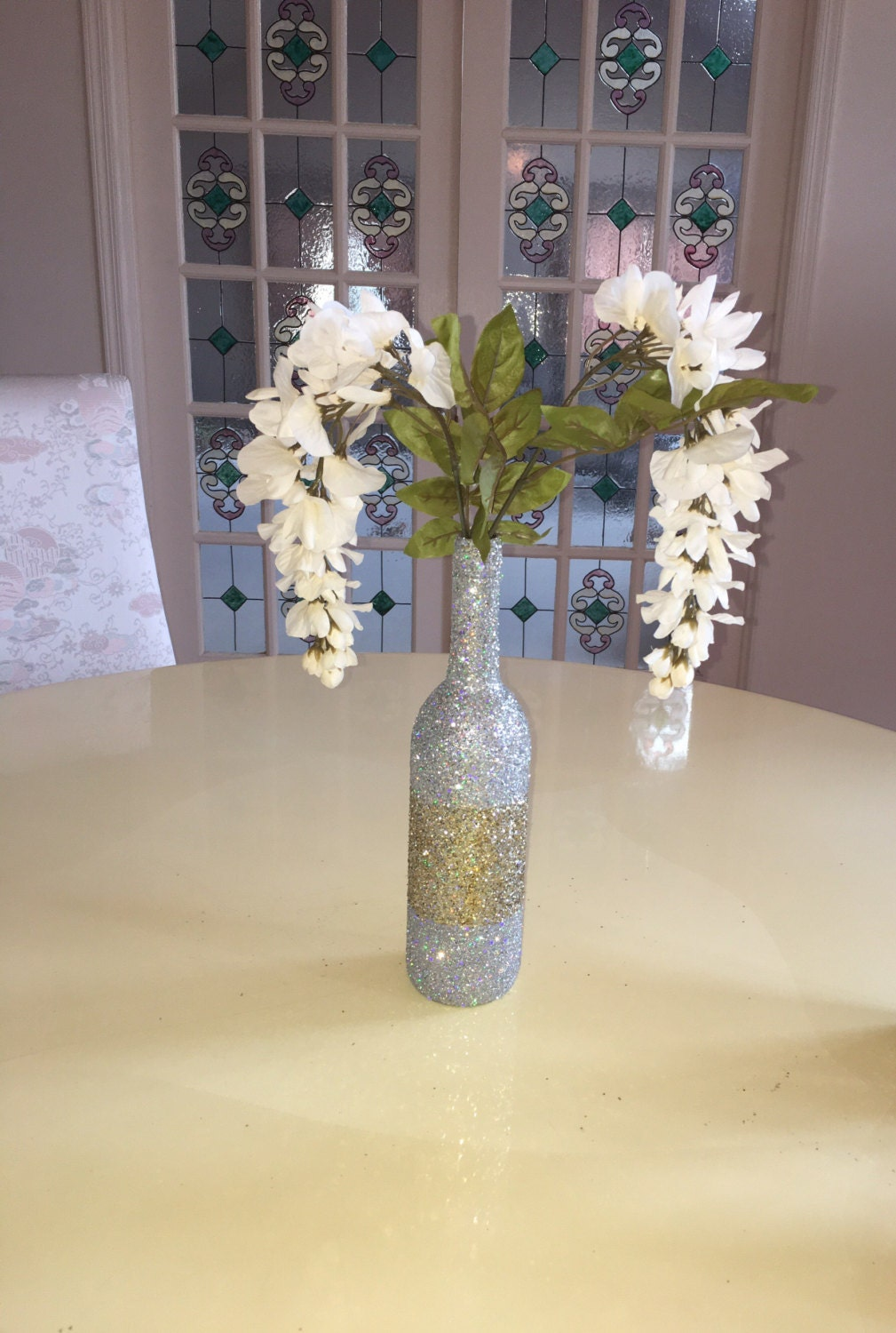 1 full silver iridescent gold glitter wine bottle decorative zoom reviewsmspy