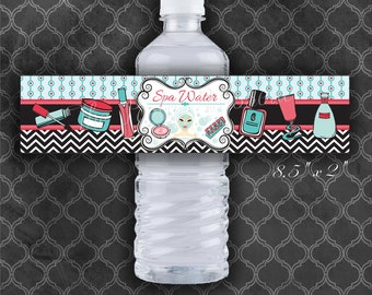 Spa Birthday Party Water Bottle Labels / Coral/Turquoise / Instant Download  / Digital File