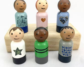 Six Peg Dolls - Wooden Peg Dolls - Boys and Girls - Diverse Peg Dolls - Ready to Ship - Peg Doll Gift Set - Wooden Peg Dolls