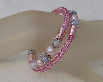 Pink Viking Knit Bangle Bracelet with Pearls and Sea Opal Beads, Wrap bracelet, Wraps 1.5 Times Fits all Sizes, Handmade One of a Kind