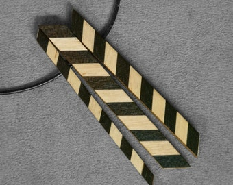 Long Chevron Necklace, Wood Geometric Necklace, Triple Necklace, Long Chevron Pendant, Long boho necklacea