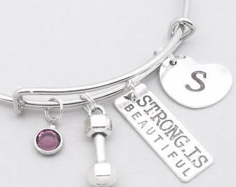 Strong Is Beautiful fitness charm bracelet | dumbbell bracelet | gym bracelet | motivation jewelry | personalised willpower gift