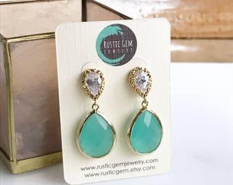 Earrings Aqua Teardro and Cubic Zirconia Post Earrings. Aqua Bridal Earrings. Fancy Drop Earrings in Gold.