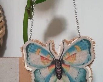 Light blue Butterfly paper necklace/Collana di carta a FARFALLA azzurra/recycled paper necklace/Collana in carta riciclata/vintage butterfly