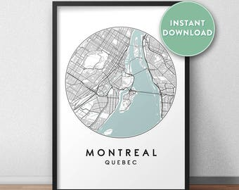Montreal City Print Instant Download, Street Map Art, Montreal Map Print, City Map Wall Art, Montreal Map, Travel Poster, Quebec, Canada
