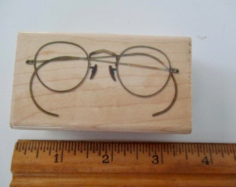 two rubber stamps mounted on wood - glasses, wire rim, eyeglasses, Inkadinkado