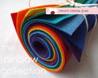 9x12 Wool Felt Sheets - The Rainbow Collection - 8 Sheets of Felt