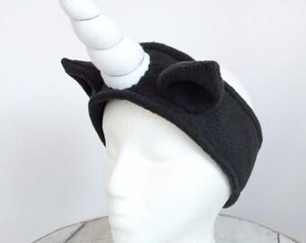 Black Fleece Unicorn Headband - Fleece Ear Warmer - Size Large - Ready To Ship