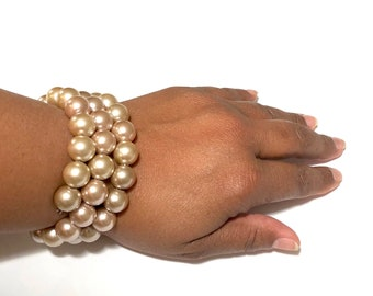 Pearl Cuff Bracelet, Stackable Pearl Bracelet, Wedding Jewelry, Cuff Bracelet