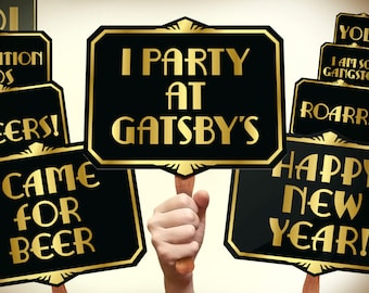 Great Gatsby photo booth props printable PDF. Gatsby props. New years photo booth props. Roaring 20s party photobooth. Proohibition era.
