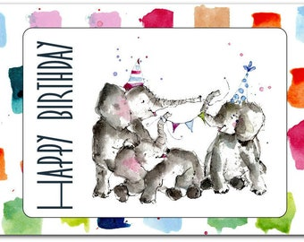 Happy Birthday greeting card handmade 15cm x 21cm