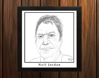 Neil Jordan - Sketch Print - 8.5x9 inches - Black and White - Pen - Caricature Poster