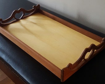 Teak Serving Tray/ Teak Tray/ exotic wood tray/ Wooden serving tray/ breakfast tray/ afternoon tea tray/ scroll saw heart / ottoman tray