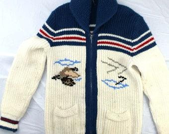 Virgin Orlo sz M  Vintage Cowl Neck Novelty Knit Sweater
