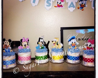 Baby Disney Characters Diaper Cake Mini- Baby shower or birthday decorations centerpieces, baby minnie,mickey,donald duck,goofy,pluto,daisy