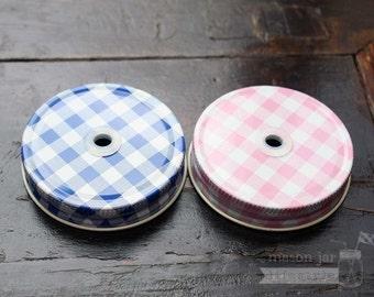 Mason Jar Straw / Tumbler Lids for Regular Mouth Mason Jars in Gingham | Mason Jar Drinking Lids | Accessories | Pink | Blue | Baby shower