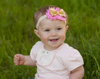 Pink gold  headband - #1 birthday bow - Pink gold first birthday - #1 first birthday headband - Pink gold first birthday headband