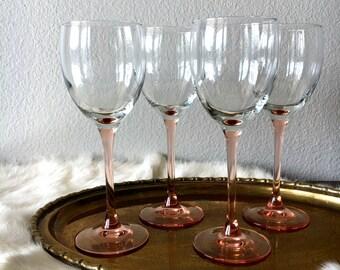 Pink-Stemmed Wine Glasses - Set of 4 / Glam Decor Champagne Stemware