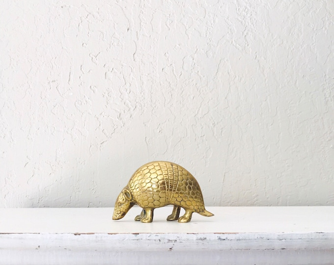 Vintage Brass Armadillo // Solid Brass