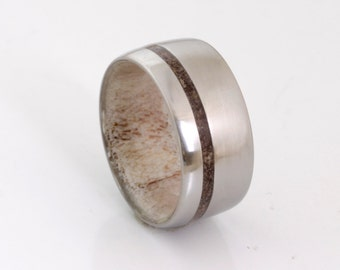 dinosaur bone ring antler ring antler wedding ring titanium wedding band mens wedding band fossil ring woman ring