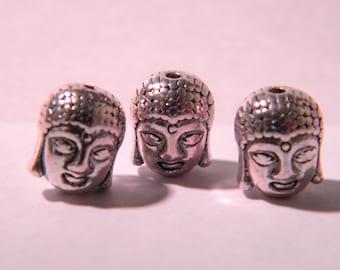 5 beads Buddha head, silver Tibetan style - 11 x 9 mm - PE299