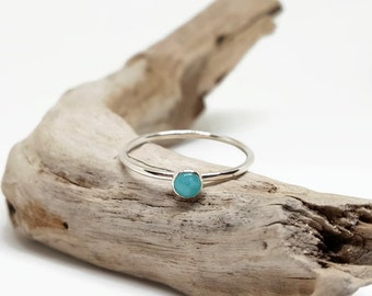Dainty Silver Stack - Tiny Sterling Ring - Simple Stacking Jewelry - Amazonite Ring - Thin Blue Stack Ring - Minimalist Ring - Skinny Ring